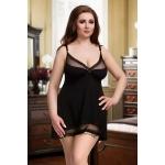 077 Nine X Sexy Nightdress Plus Size Babydoll S - 7XL Lingerie Black