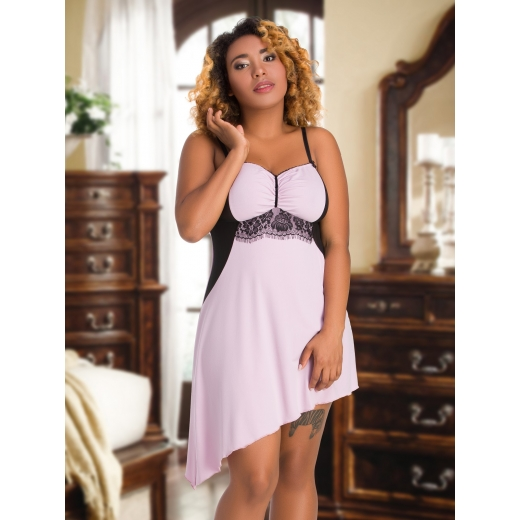 093 Dusty Rose Venecia & Mesh Babydoll Size M-7XL 10-26UK