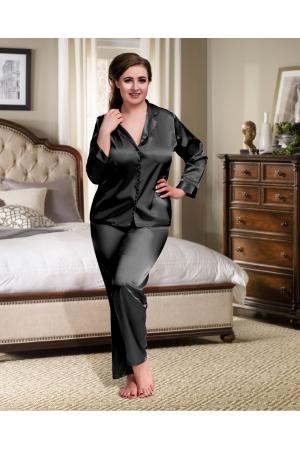 345e0d0de55 084 Black Plus Size Satin Pyjama Set Long Sleeve Nightwear S-6XL