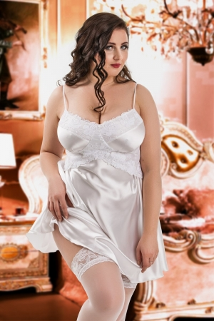 500f07cd64d 040  Manola  -White satin Babydoll with Lace Detail S-6XL