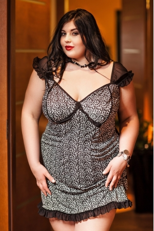 0021849b11a 034  Davina  Black and White Leopard Babydoll With Net Sleeves S-6XL